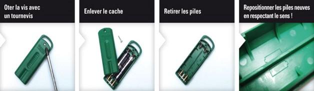 changer piles badge vert